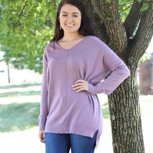 Sweaters - V Neck Sweater Heathered Lavender